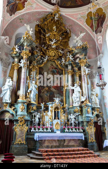 Architecture baroque church altar stock photos for Baroque style church