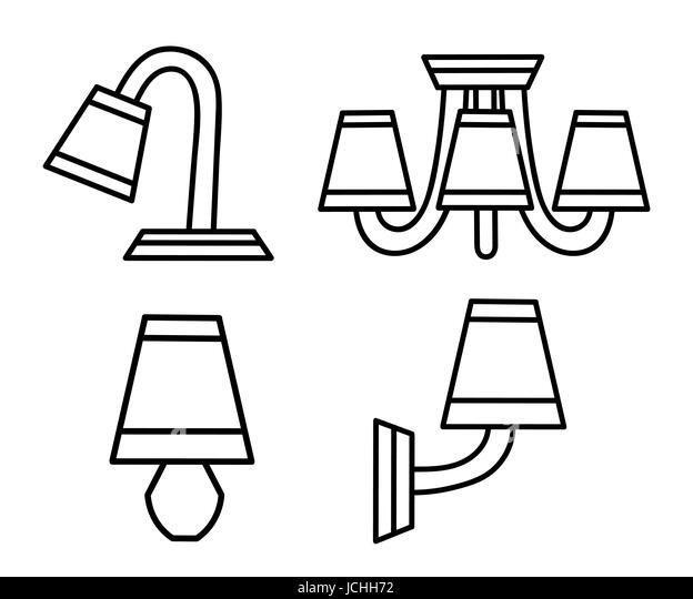 Vector Line Icons With Various Modern Chandeliers Simple Design Pictograms Renovation Interior Symbols