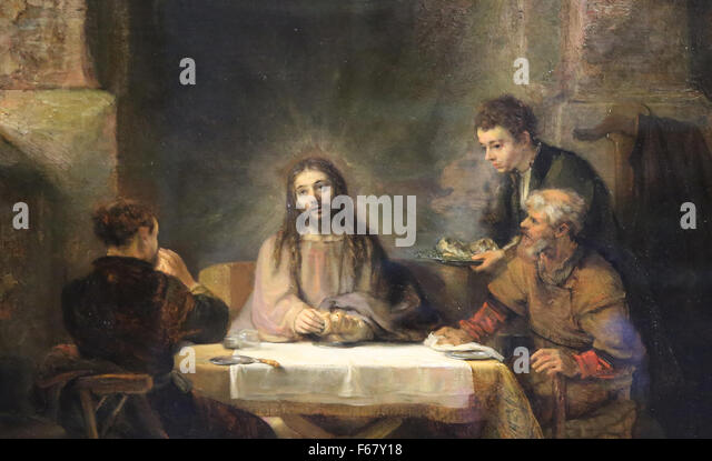 Rembrandt Exhibition Shell : Emmaus stock photos images alamy