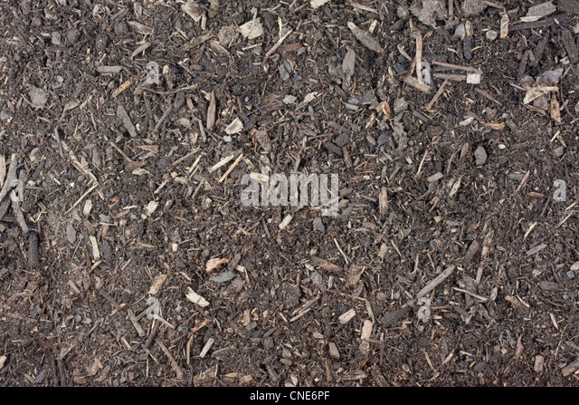 Dry garden potting soil background with small wood chips