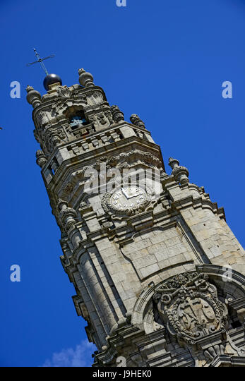 The Clérigos Church Bell Tower Porto Portugal Catholic Baroque   Stock Image