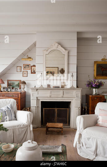 Gustavian stock photos gustavian stock images alamy for Tongue and groove fireplace