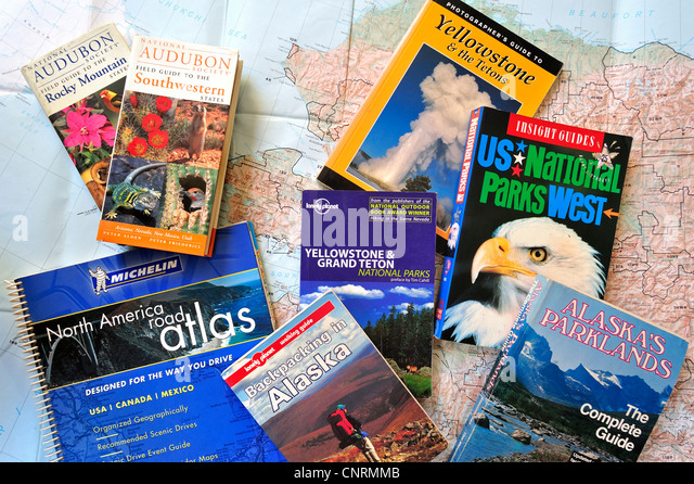 Road Map And Assortment Of Travel Guides And Guidebooks About North American National Parks To Plan