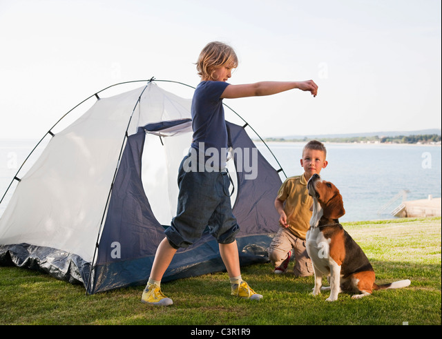 Croatia Zadar Girl and boy playing with dog in front of tent at beach : beach tent for dogs - memphite.com
