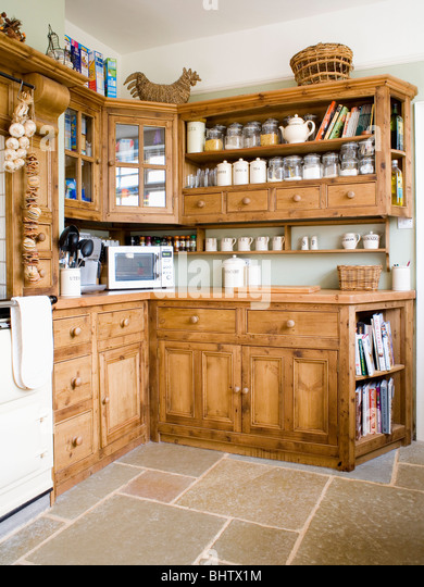 Pine fitted kitchen stock photos pine fitted kitchen for Wooden fitted kitchen