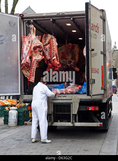 A Delivery Of Raw Meet To Butchers Shop Uk