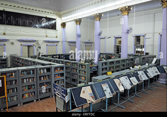 Newspaper Stand And Book Shelves In Town Hall Asiatic Library Bombay Mumbai Maharashtra India