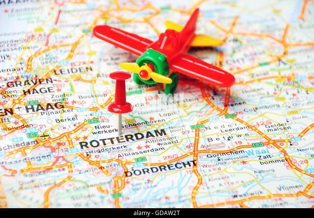 Close Up Rotterdam Netherlands Map Stock Photos Close Up