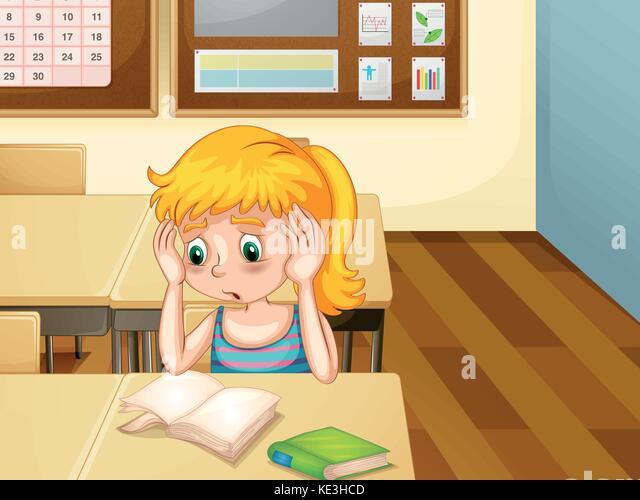 Cartoon worried girl stock photos cartoon worried girl - Cartoon girl sitting alone ...