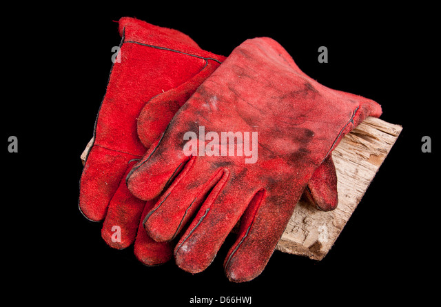 Leather Stove Gloves for wood stove - Stock Image - Wood Stove Stock Photos & Wood Stove Stock Images - Alamy