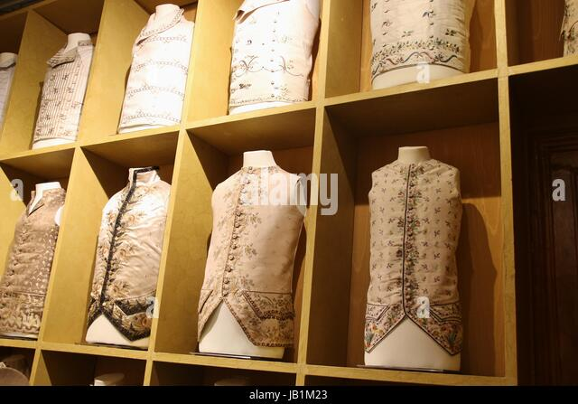 Fine waistcoats for aristocrats in Venice between 1700 and 1750. Exhibited in the Mocenigo Palace Museum in Venice, - Stock Image