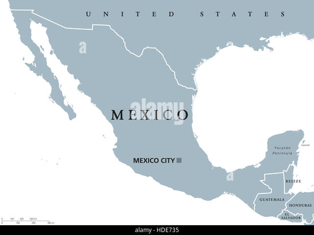 Mexico Political Map With Capital Mexico City And National Borders United Mexican States A