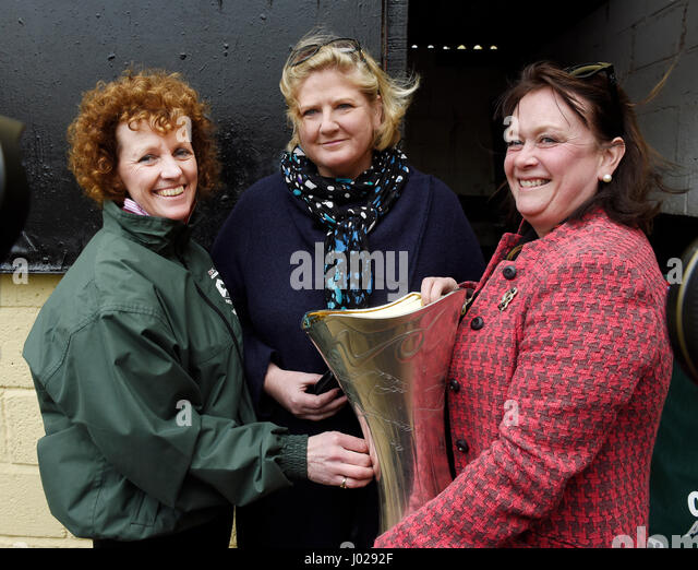 Grand National Winner One For Arthurs Owners Balinda McClung Centre And Debbs Thomson Pictured