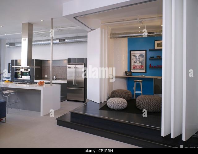 Concertina door in split level open plan Broadway loft apartment Hollywood US. - & Concertina Door Stock Photos \u0026 Concertina Door Stock Images - Alamy Pezcame.Com