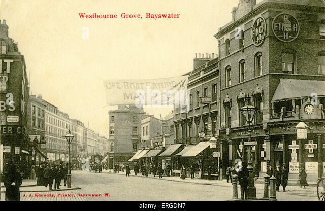 westbourne grove bayswater london c1905 shows the street with shops