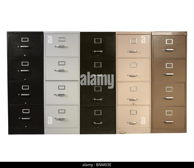 Funky Collection Of Vintage Metal File Cabinets.   Stock Image
