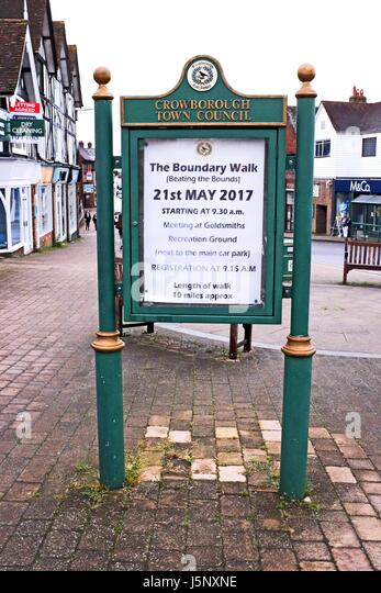 Crowborough East Sussex UK - Crowborough Town Council notice board - Stock Image