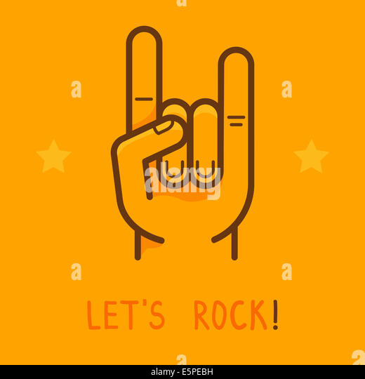 Hand rock star symbol icon stock photos hand rock star symbol lets rock banner in outline style male hand on yellow background stock image pronofoot35fo Image collections