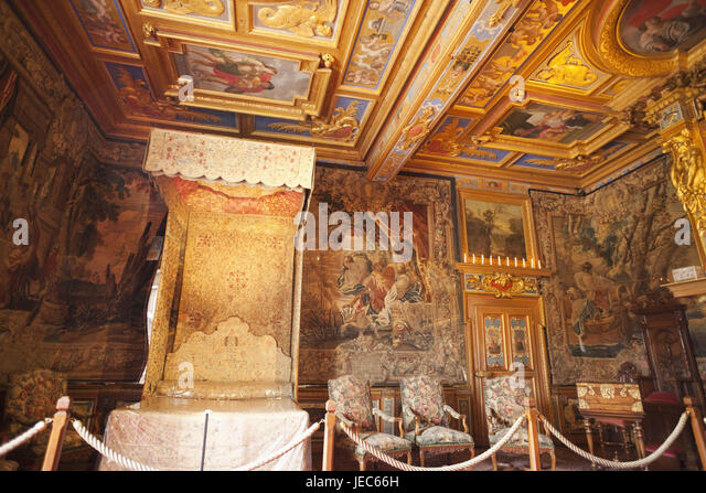France, Loire Valley, Castle Cheverny, Interior Shot, Royal Bedroom,   Stock