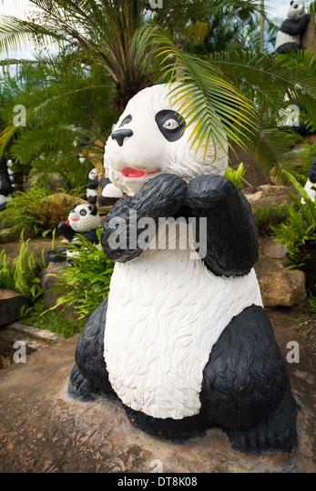 Panda Bear Sculpture, Nong Nooch Tropical Garden And Resort, Thailand    Stock Image