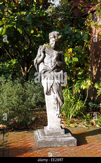 Beautiful GARDEN STATUE OF PAN THE GREEK GOD OF THE WILD.   Stock Image