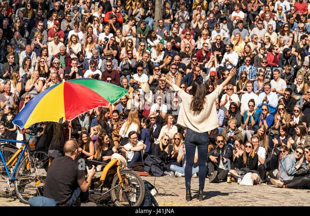 Open stage Karaoke, Mauerpark, Prenzlauer Berg, Berlin, Germany - Stock Image