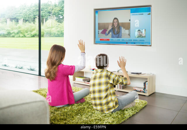 Big screen tv home stock photos big screen tv home stock for Kids video chat rooms