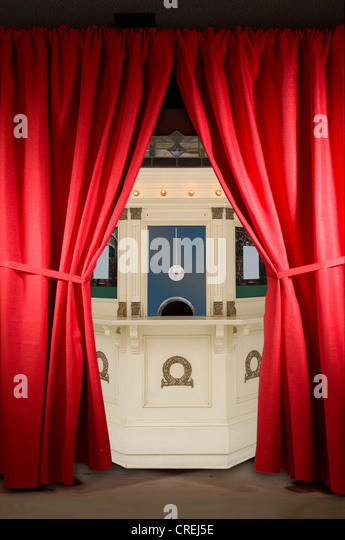 red curtains on stage with boxoffice stock image art deco box office loew