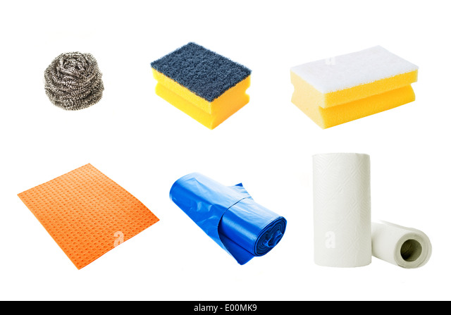 Kitchen Cleaning Equipment   Sponges, Soft Cloth Rags, Plastic Bags And  Paper Towels On