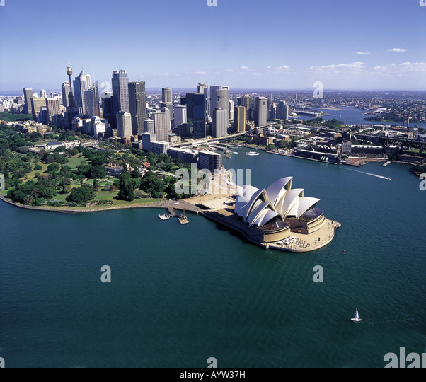 aerial view of sydney opera house and city sydney australia ayw37h - Get Satellite Image Of Sydney Opera House  Pictures
