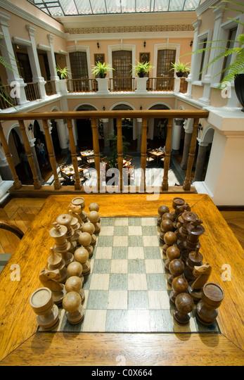 Chess Set And Atrium At Hotel Patio Andaluz   Quito, Ecuador   Stock Image