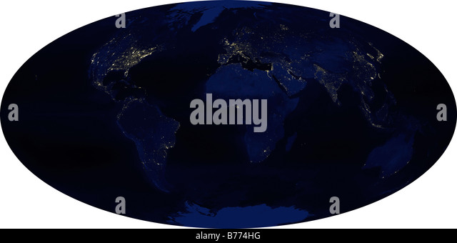 Earth map oval stock photos earth map oval stock images alamy earths human generated nighttime lights for the calendar year 2003 stock image gumiabroncs Choice Image