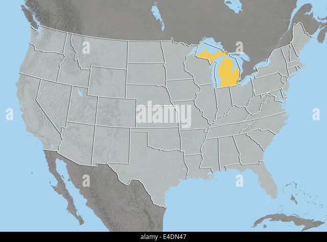 State Of Michigan United States Relief Map Stock Image
