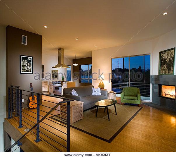 Contemporary Living Room Kitchen: Kitchen Fireplace Stock Photos & Kitchen Fireplace Stock