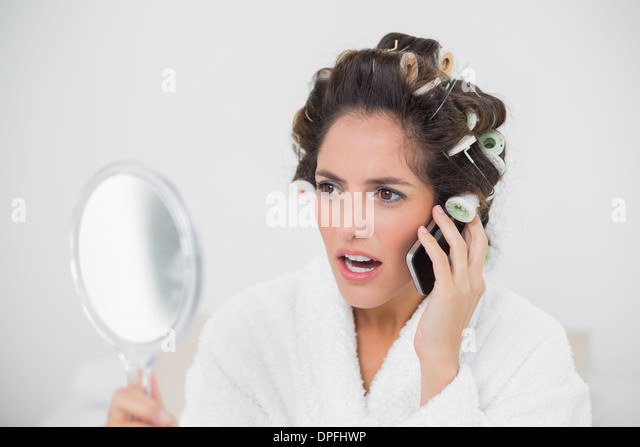 Hair Rollers Woman And Surprised Stock Photos & Hair Rollers Woman ...