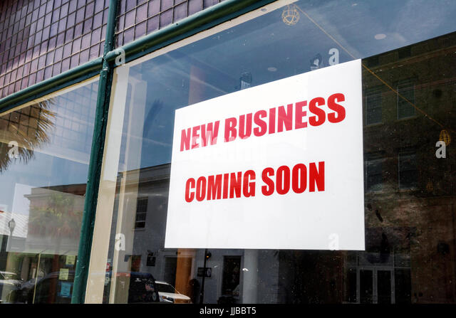 Beaufort South Carolina Historic Downtown stores shops sign new business economic development - Stock Image