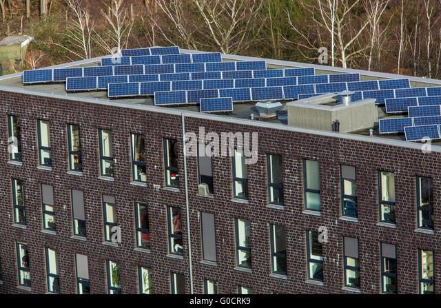 Solar Powered Office Buildings : Photovoltaic cells office stock photos