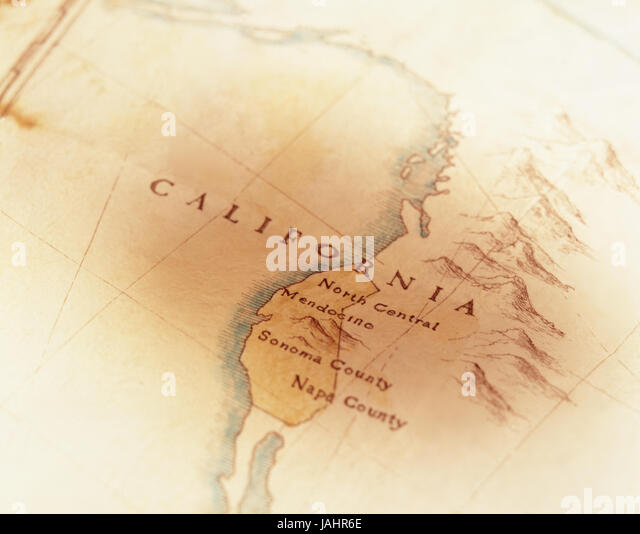 Hand drawn map of California with wine regions - Stock Image