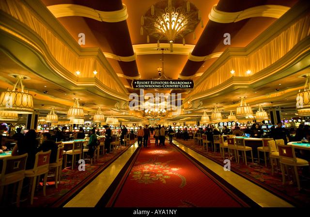 Gambling Tables And Interior Of Wynn Hotel, Las Vegas, USA   Stock Image