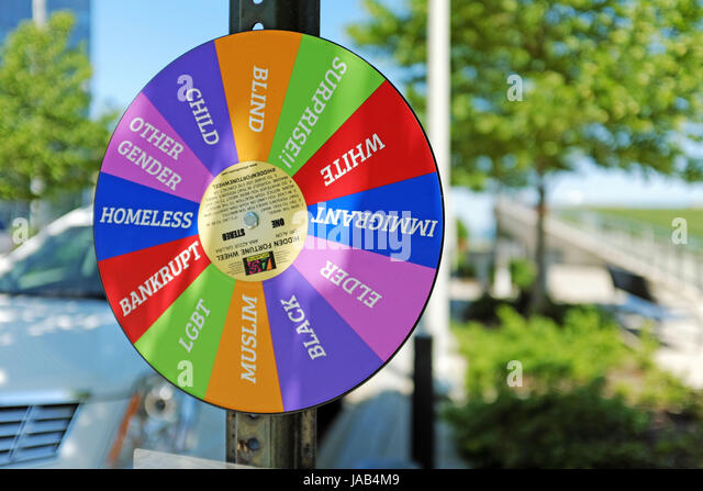 Diversity wheel in a non-descript area of downtown Cleveland asking people to take on the psychological role of - Stock Image