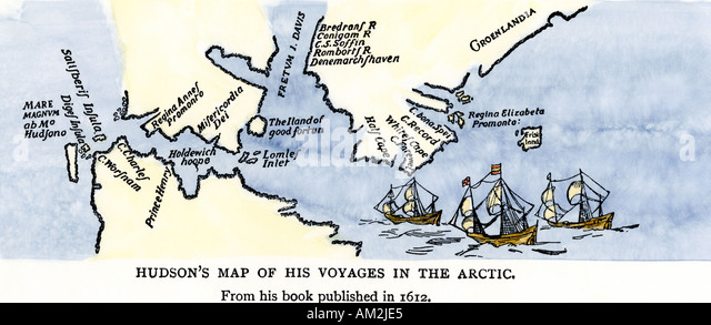 Map Of Henry Hudson Voyages In The Arctic Published 1612