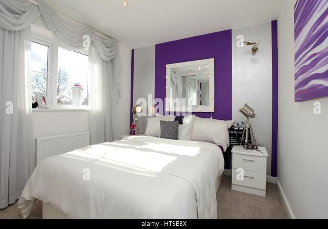Home Interior Bedroom Feature Wall Stock Photos Home Interior - Clap lights for bedroom