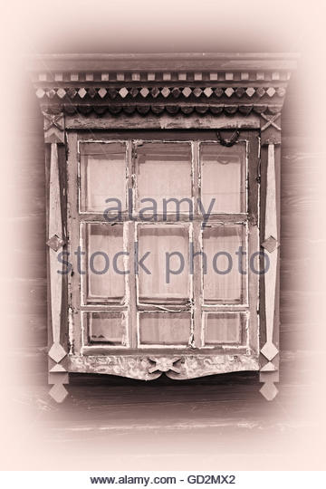 vintage window drawing. russian vintage window platband backdrop - stock image drawing