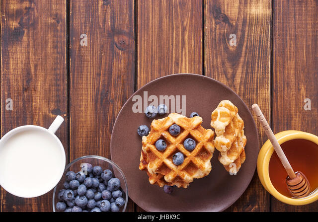 Top view of belgian waffles - Stock Image