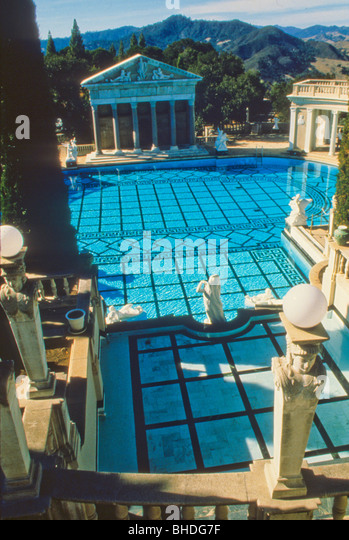 Hearst castle view stock photos hearst castle view stock for Castle gardens pool