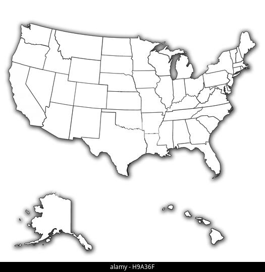 Old Vintage Map Of Usa With State Borders Stock Image