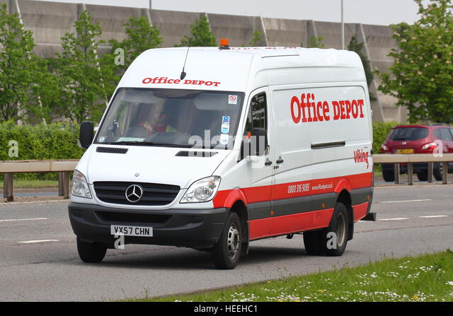 Office Depot Van Near London Heathrow Airport   Stock Image