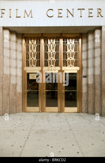 Beautifully Polished Bronze Art Deco Entrance Doors U0026 Carved Pink Granite  Surround Of Film Center Building