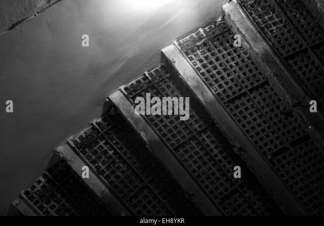 Abstract Grunge Interior Fragment With Dark Rusted Stairs   Stock Image