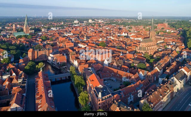 aerila photo of the old town of Lueneburg, Lower Saxony, Germany - Stock Image